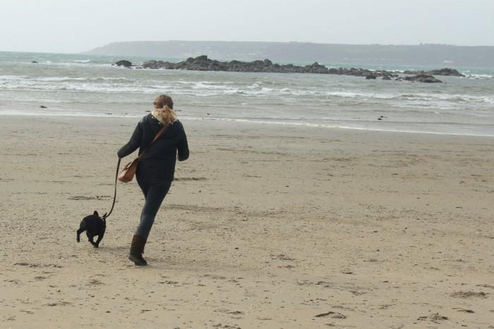 Pepper & I running on the beach