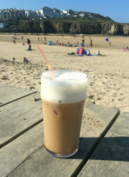 Iced Coffee at The Watering Hole on Perranporth Beach