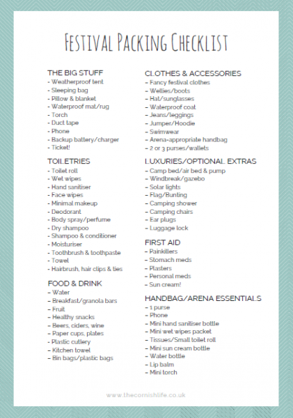 Festival Packing Guide Free Printable Checklist