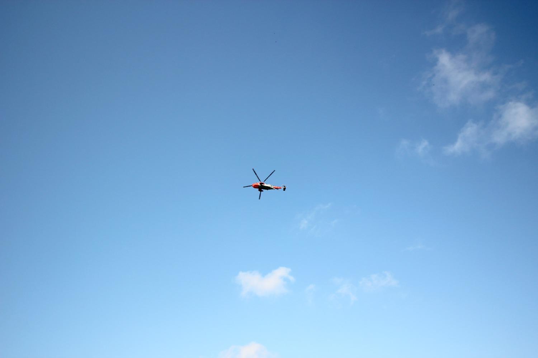 Helicopter flying overhead