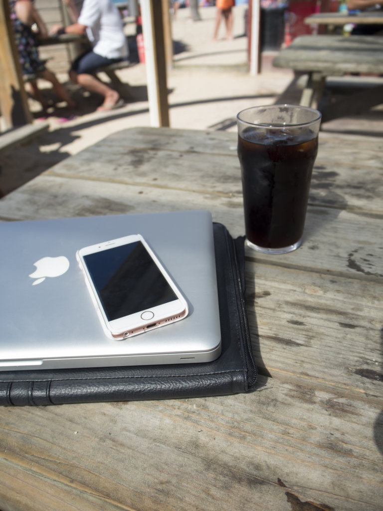 Working from the beach in Cornwall