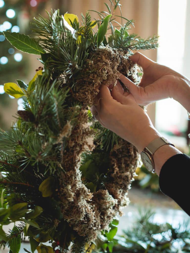 Wreath making in Cornwall