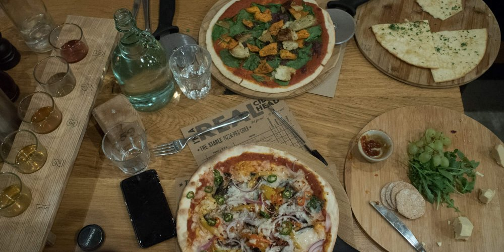 Vegan Pizza and cider at The Stable in Falmouth