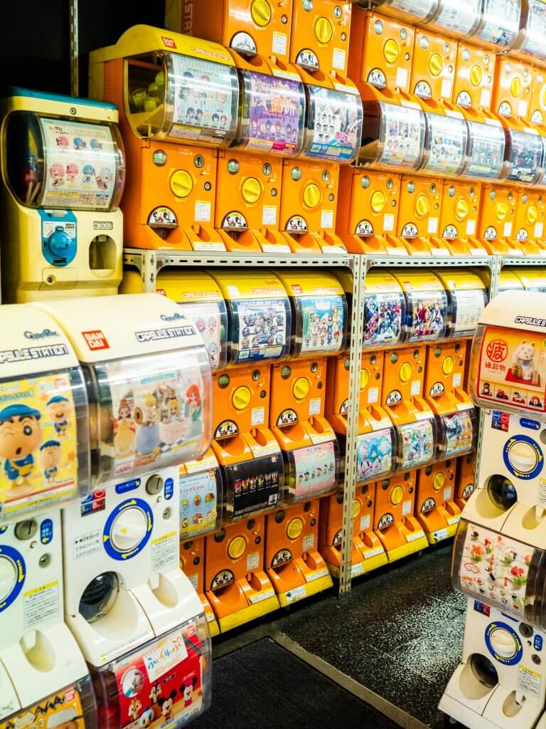 Capsule toy dispensers in Tokyo