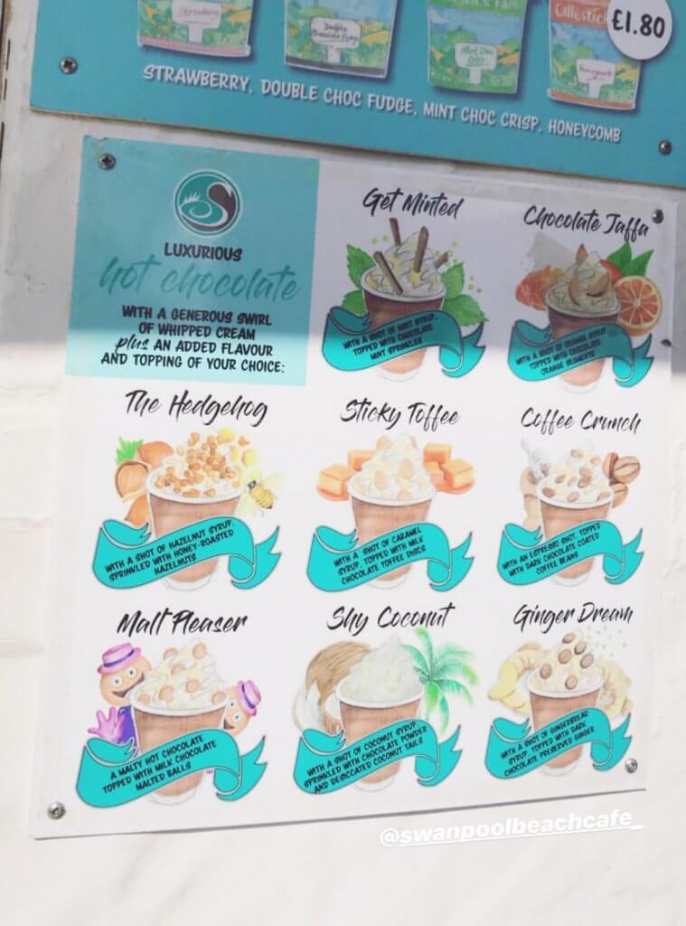 Swanpool beach cafe hot chocolates